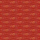Configuration sans joint chinoise Mer stylisée Vagues d'or sur un fond rouge illustration stock