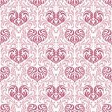 Configuration sans joint Coeurs roses faits dans les remous, les feuilles et floral Image libre de droits