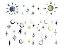 Configuration sans joint d'étoile et de lune Images stock