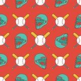 Configuration sans joint de base-ball Casque de receveur, batte, et modèle de boule Illustration Stock