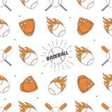 Configuration sans joint de base-ball Modèle de batte, de boule et de gants Illustration Libre de Droits
