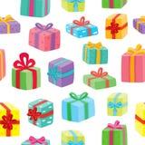 Configuration sans joint de cadeaux de Noël Illustration de vecteur des cadeaux de bande dessinée Photo stock