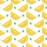 Configuration sans joint de citron Aspiration de main de modèle de fruit Image stock