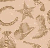 Configuration sans joint de cowboy dans le type de gravure Photos libres de droits