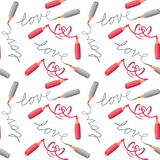 Configuration sans joint de crayons rouges de gris d'amour et de coeurs Image libre de droits
