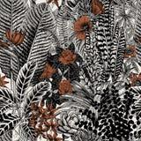 Configuration sans joint de cru de vecteur Fleurs et plantes exotiques illustration libre de droits
