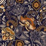 Configuration sans joint de cru floral Rétro style d'usines Motif de Paisley Ornement coloré de damassé illustration libre de droits