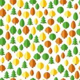 Configuration sans joint de forêt Fond sans couture avec des arbres dans le style plat illustration libre de droits