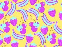Configuration sans joint de fruit Fond d'été avec des bananes, des fraises et des cerises Conception tropicale Vecteur illustration de vecteur