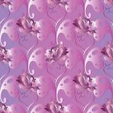 Configuration sans joint de guindineaux Fond de coeur d'amour Wallp de roses illustration de vecteur