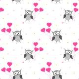 Configuration sans joint de hibou Design de carte de jour de valentines illustration stock