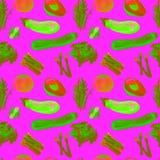 Configuration sans joint de légumes Modèle qu'on peut répéter avec la nourriture saine Images stock