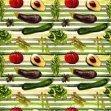 Configuration sans joint de légumes Modèle qu'on peut répéter avec la nourriture saine Photos stock