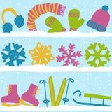 Configuration sans joint de Noël avec la neige Image stock