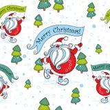 Configuration sans joint de Noël Santa Claus sur des patins cartoon Noël ma version de vecteur d'arbre de portefeuille Vecteur illustration de vecteur