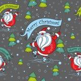 Configuration sans joint de Noël Santa Claus sur des patins cartoon Noël ma version de vecteur d'arbre de portefeuille Vecteur illustration libre de droits