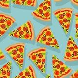 Configuration sans joint de pizza Tranche délicieuse de fond de pizza Images libres de droits