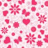 Configuration sans joint de Valentine avec les coeurs et la fleur illustration stock