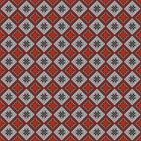 Configuration sans joint de vecteur Fond abstrait géométrique symétrique avec des places dans des couleurs rouges et noires et bl Photographie stock