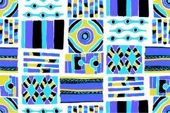 Configuration sans joint de vecteur Fond géométrique avec les éléments tribals décoratifs tirés par la main dans des couleurs de  Images stock