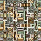 Configuration sans joint de vecteur Fond géométrique avec les éléments tribals décoratifs tirés par la main dans des couleurs de  Photo libre de droits