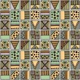 Configuration sans joint de vecteur Fond géométrique avec les éléments tribals décoratifs tirés par la main dans des couleurs de  Images libres de droits