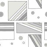 Configuration sans joint de vecteur fond tiré par la main géométrique avec des rectangles, places, points, lignes diagonales Copi illustration stock