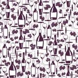 Configuration sans joint de vin Bouteilles de vin, verres de vin, feuilles de raisin et tire-bouchon, tirés par la main sur le fo illustration stock