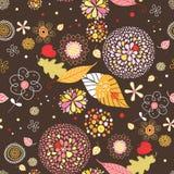 Configuration sans joint des lames et des fleurs d'automne illustration de vecteur