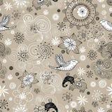 Configuration sans joint des nuages, des oiseaux et des éléphants Image libre de droits