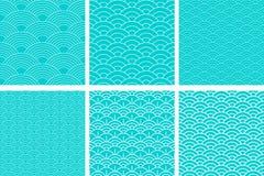 Configuration sans joint Ensemble de vague Texture d'?chelles de poissons Illustration de vecteur Album, papier d'emballage cadea illustration libre de droits