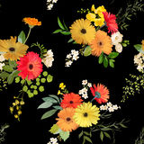 Configuration sans joint florale Été et Autumn Flowers Background Illustration Libre de Droits