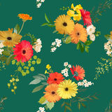 Configuration sans joint florale Été et Autumn Flowers Background Illustration Stock