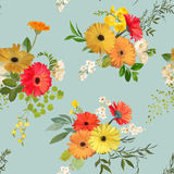 Configuration sans joint florale Été et Autumn Flowers Background Illustration de Vecteur