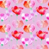 Configuration sans joint florale avec des fleurs de pavot illustration stock