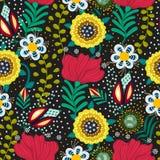 Configuration sans joint florale Fleurs créatives tirées par la main dans le style folklorique Fond artistique coloré Herbe abstr Images stock