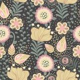 Configuration sans joint florale Fleurs créatives tirées par la main dans le style folklorique Fond artistique coloré Herbe abstr Photos stock