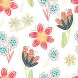 Configuration sans joint florale Fleurs créatives tirées par la main Fond artistique coloré avec la fleur Herbe abstraite Photos libres de droits