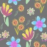 Configuration sans joint florale Fleurs créatives tirées par la main Fond artistique coloré avec la fleur Herbe abstraite Photos stock