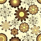 Configuration sans joint florale Fleurs de Brown sur le fond clair Illustration Stock