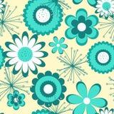 Configuration sans joint florale Fleurs de turquoise sur le fond clair Illustration de Vecteur