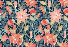Configuration sans joint florale L'illustration colorée de papier peint de fond avec des fleurs d'été de vintage part et des orne Photographie stock libre de droits