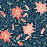 Configuration sans joint florale L'illustration colorée de papier peint de fond avec des fleurs d'été de vintage part et des orne Image libre de droits