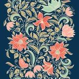 Configuration sans joint florale L'illustration colorée de papier peint de fond avec des fleurs d'été de vintage part et des orne Photographie stock