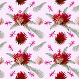 Configuration sans joint Fond tropical d'aquarelle de feuilles Fond tropical d'aquarelle de feuilles Illustrations de fleur photo stock