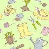 Configuration sans joint Jardinier d'attributs Jardin, pots de jeune plante, bo?te d'arrosage, chapeau, spatule, gants, cisaillem illustration de vecteur