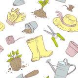 Configuration sans joint Jardinier d'attributs Jardin, pots de jeune plante, illustration de vecteur
