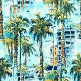 Configuration sans joint Le centre ville avec la rue et les bâtiments de la ville de Miami en Floride, Etats-Unis Éclaboussure d' illustration libre de droits