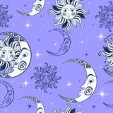 Configuration sans joint Lune et étoiles de Sun Fond de l'espace Ciel de nuit Un contexte féerique magique Vecteur illustration stock
