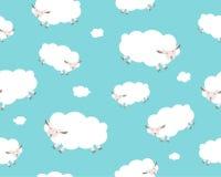Configuration sans joint Moutons blancs et nuage sur Images stock